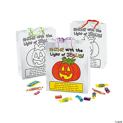 Color Your Own Christian Pumpkin Gift Bags