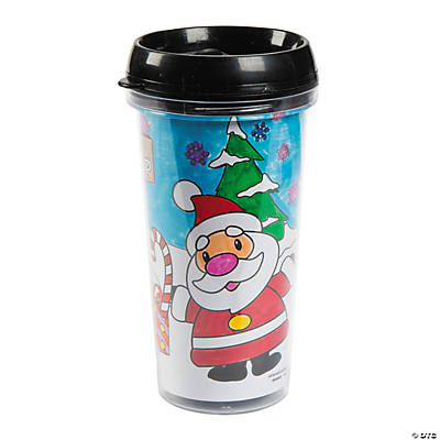 Color Your Own Christmas Travel Mugs