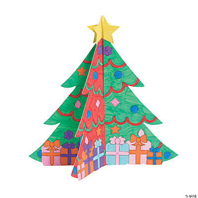 Color Your Own 3D Christmas Trees