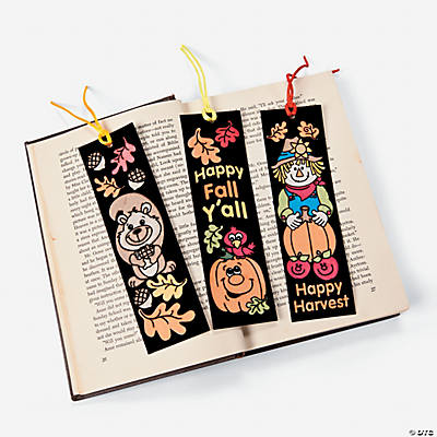 Color Your Own Fall Fuzzy Bookmarks