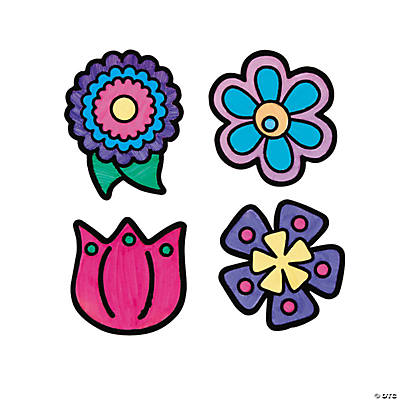 Color Your Own Flower Fuzzy Magnets