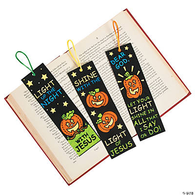 Color Your Own Fuzzy Christian Pumpkin Bookmarks