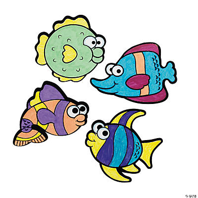 Color Your Own Fuzzy Fish Magnets