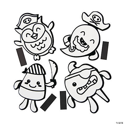 Color Your Own Fuzzy Halloween Pirate Magnets