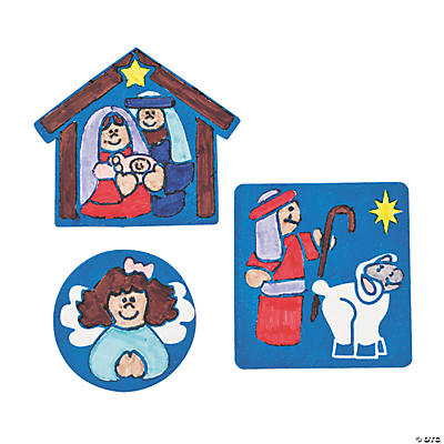 Color Your Own Fuzzy Nativity Magnets