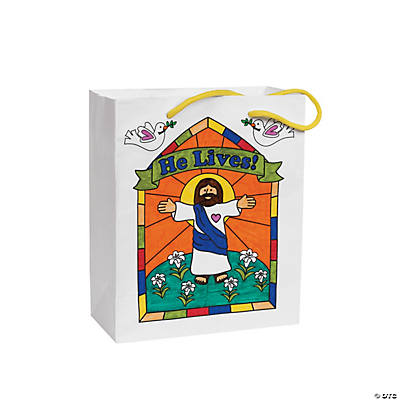 "Color Your Own ""He Lives!"" Gift Bags"