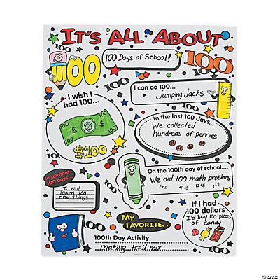 Color Your Own It's All About 100th Day of School Poster Set