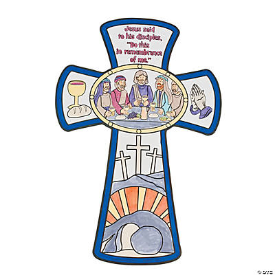 Color Your Own Last Supper Cross Cutouts