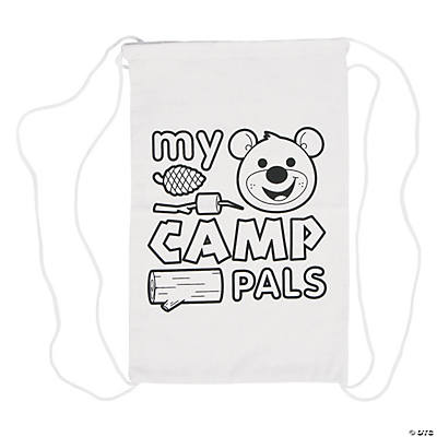 Color Your Own My Camp Pals Autograph Canvas Drawstring Backpacks