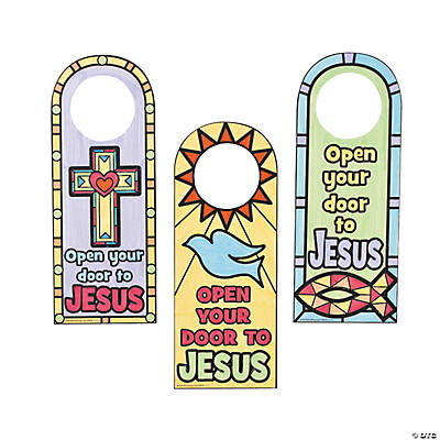 "Color Your Own ""Open Your Door To Jesus"" Doorknob Hangers"