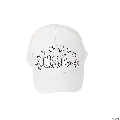 Color Your Own Patriotic Baseball Caps
