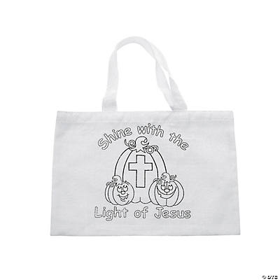 Color Your Own Religious Pumpkin Tote Bags