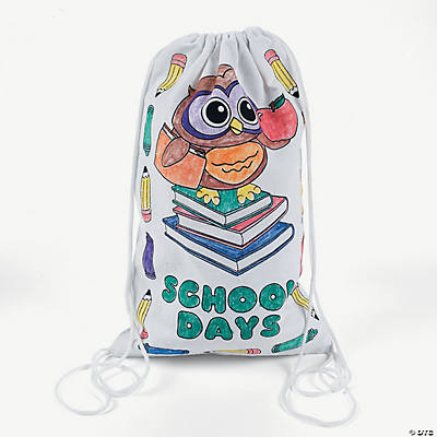 Color Your Own School Canvas Drawstring Backpacks