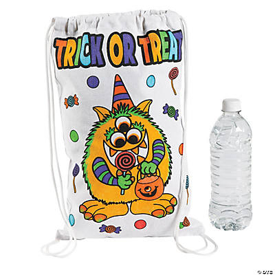 Color Your Own Small Trick-or-Treat Drawstring Bags