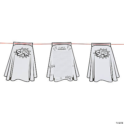 Color Your Own Superhero Cape Paper Pennant Banner