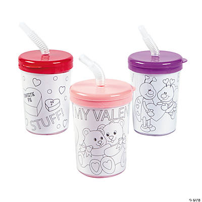 Color Your Own Valentine Cups with Lids & Straws