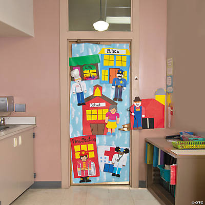 Community helpers door decoration idea for Art and craft for classroom decoration