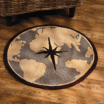 Compass Hooked Rug