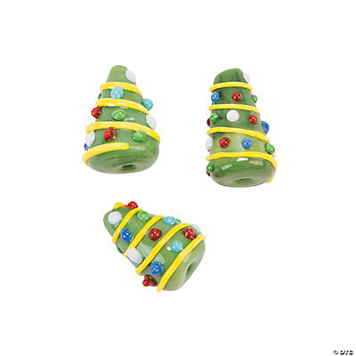 Cone-Shaped Christmas Tree Lampwork Beads