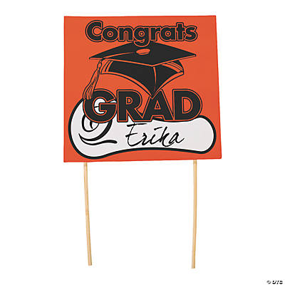 Congrats Grad Yard Sign - Orange