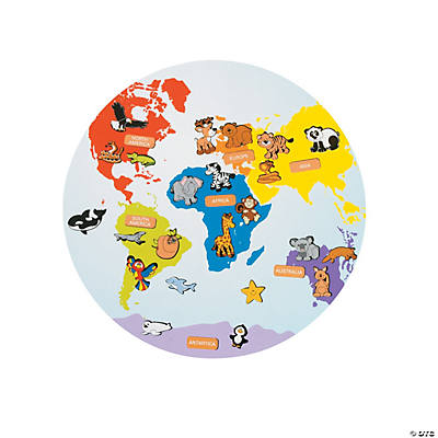 Continents & Animals Sticker Scenes
