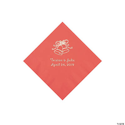 Coral Wedding Bell Personalized Napkins with Silver Foil - Beverage
