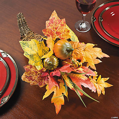 Cornucopia with Pumpkin & Leaves