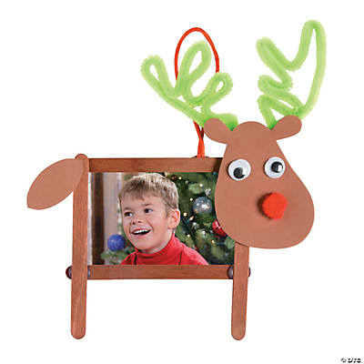 Craft stick reindeer picture frame christmas ornament for Photo frame ornament craft