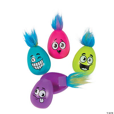 Crazy Hair Plastic Easter Eggs - 12 Pc.