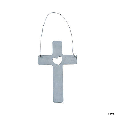 Cross with Heart Cutout Ornaments
