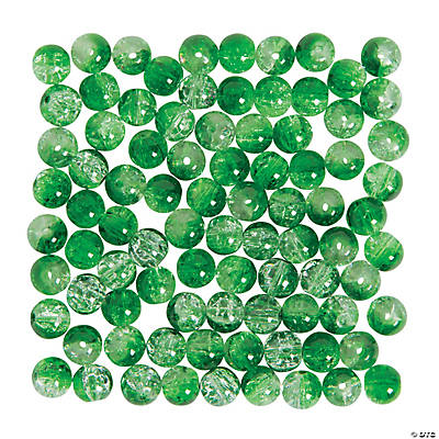 Crushed Glass Green Beads - 8mm