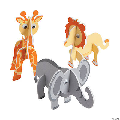 3D Foam Safari Animals Craft Kit