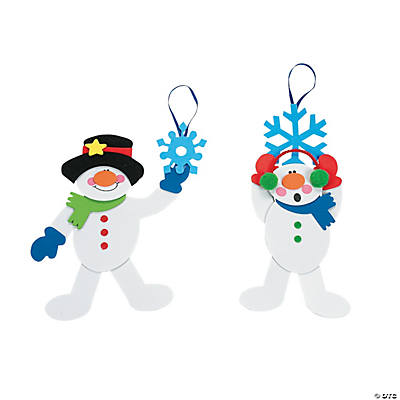 Dangling Snowman on Snowflake Christmas Ornament Craft Kit