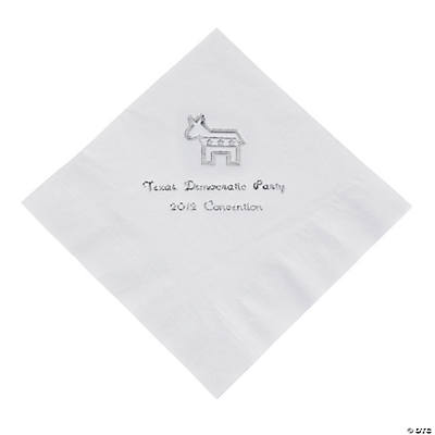 Democrat White Personalized Luncheon Napkins with Silver Print