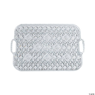 "Diamond Cut Rectangular Tray with Handles - 19"" x 13"""