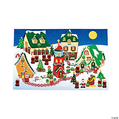 DIY Giant North Pole Village Sticker Scenes