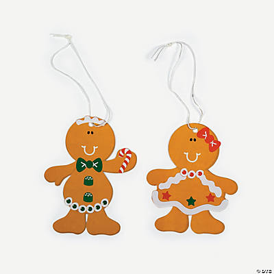 DIY Gingerbread Man Ornaments with Stickers