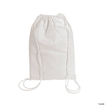 DIY White Canvas Drawstring Backpacks