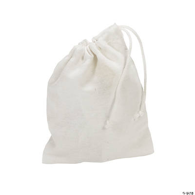 DIY White Drawstring Treat Bags - 48 pcs.