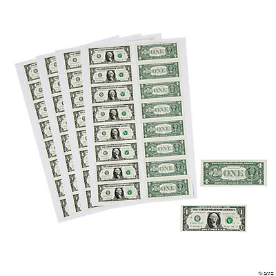 Dollar Bill Sticker Sheets Oriental Trading Discontinued