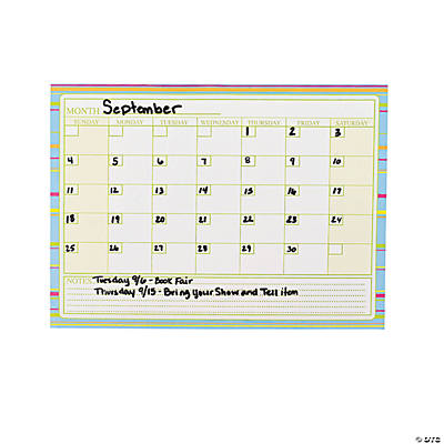 Dry Erase Month Calendar Sheets