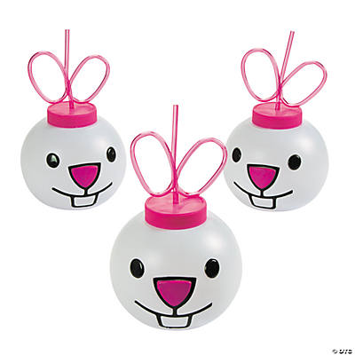 Easter Bunny Molded Cups with Straws