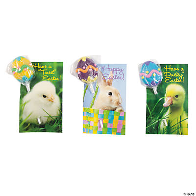 Easter Egg Suckers with Animal Cards