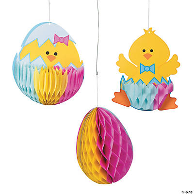 Egg & Chick Hanging Tissue Paper Decorations