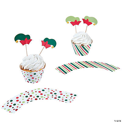 Elf Party Cupcake Wrappers with Picks