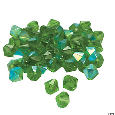Emerald Aurora Borealis Cut Crystal Bicone Beads - 8mm