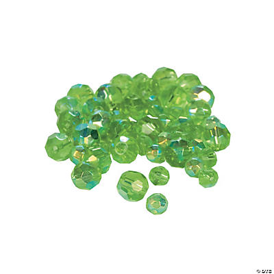 Emerald Aurora Borealis Cut Crystal Round Beads - 4mm-6mm