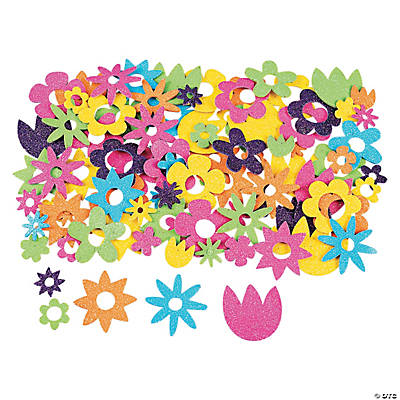 Fabulous Foam Self-Adhesive Flower Glitter Shapes