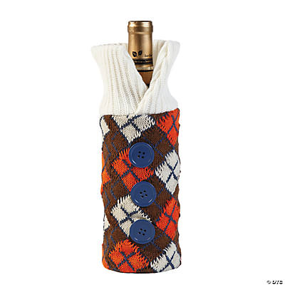 Fall Argyle Sweater Bottle Bag