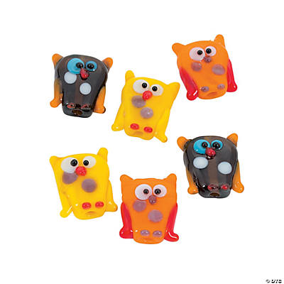 Fall Owl Lampwork Beads - 15mm